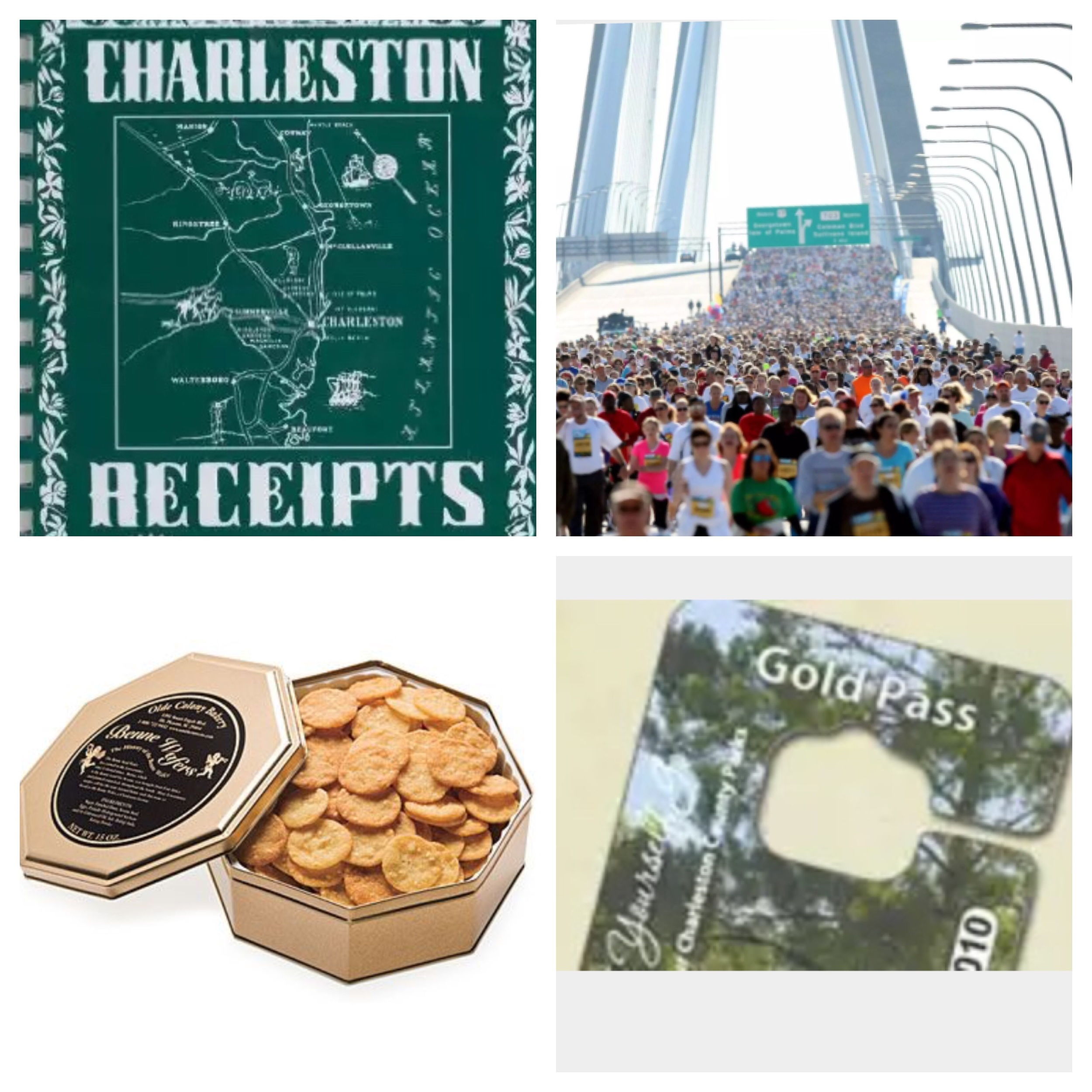 Clockwise: Charleston Receipts Cookbook, Cooper River Bridge Run, Olde Colony Benne Wafer Tin, Charleston County Park Pass