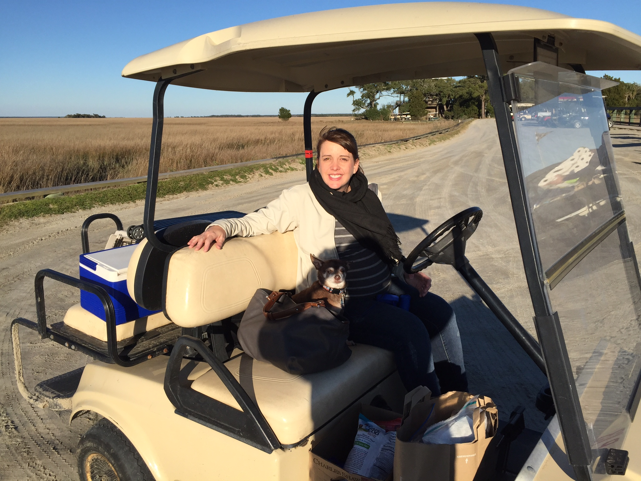 Tater is ready to ride! Dewees Island golf cart is loaded and ready for a weekend of exploring and fun.