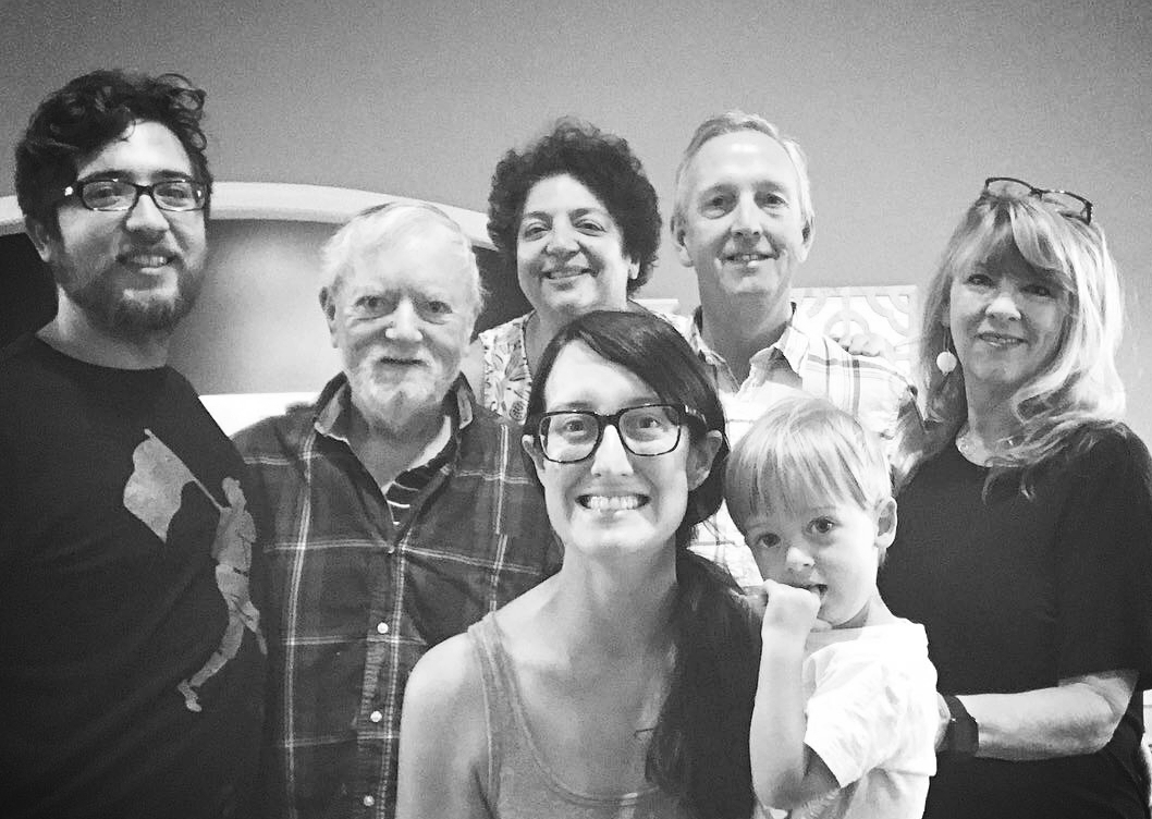 Our family in Asheville, NC in 2018 for Hurricane Florence (L to R: My husband, Trevor, his grandfather, Richard, my mother-in-law Phyllis, my dad Barry and his wife Pam, my son Grant)