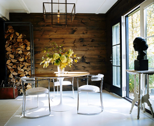 rustic salvaged wood wall in dining room