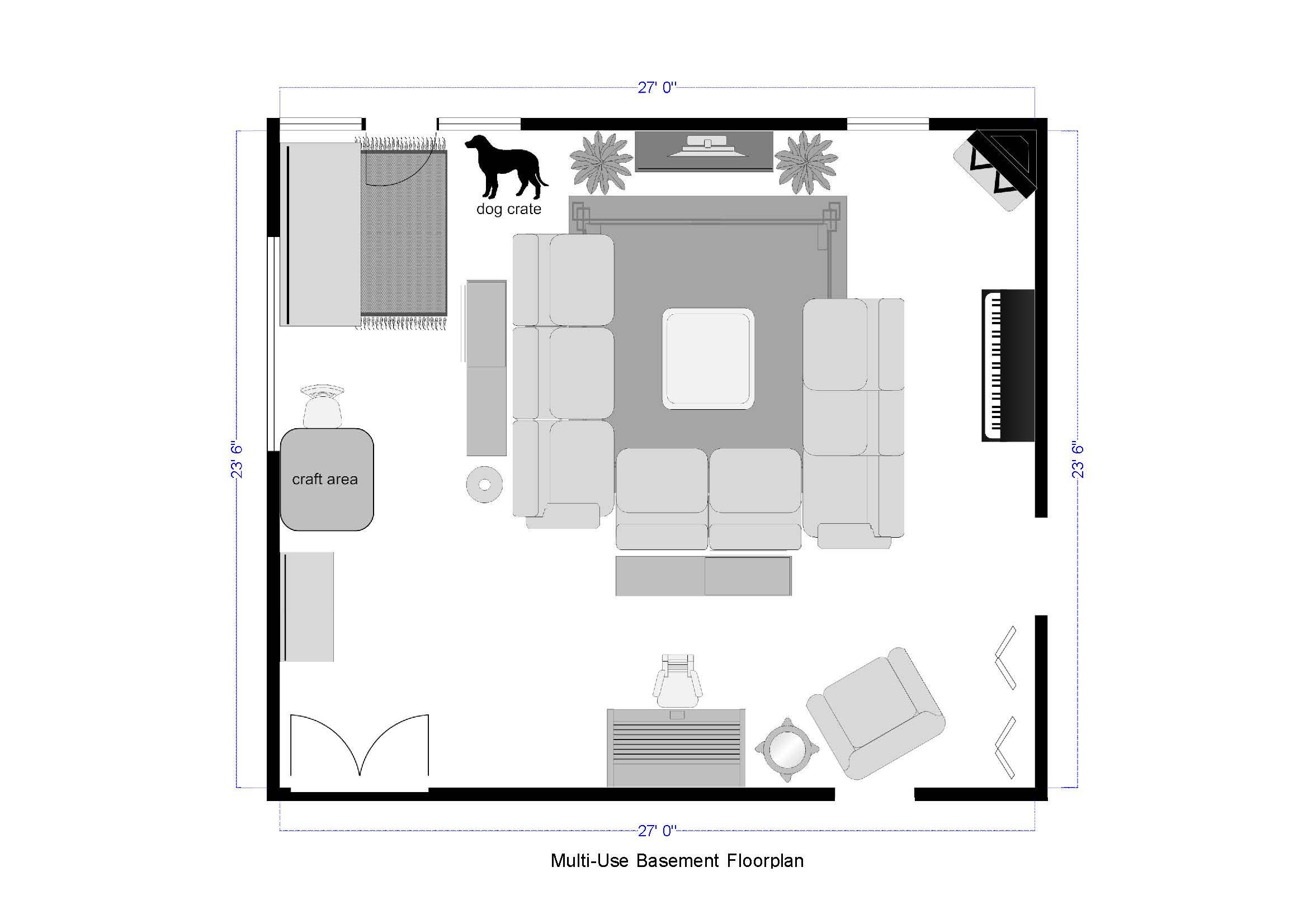 multi-use basement floorplan