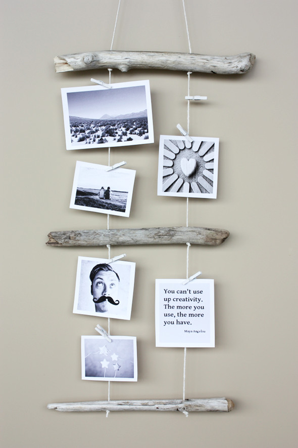 driftwood photo display diy