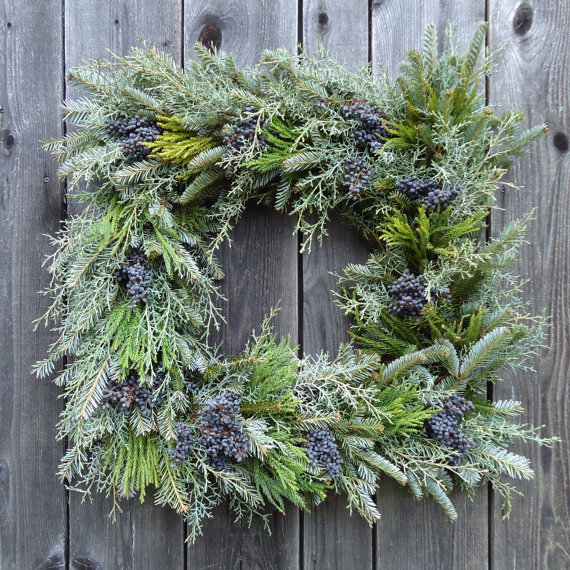 square greenery and berry Christmas winter wreath