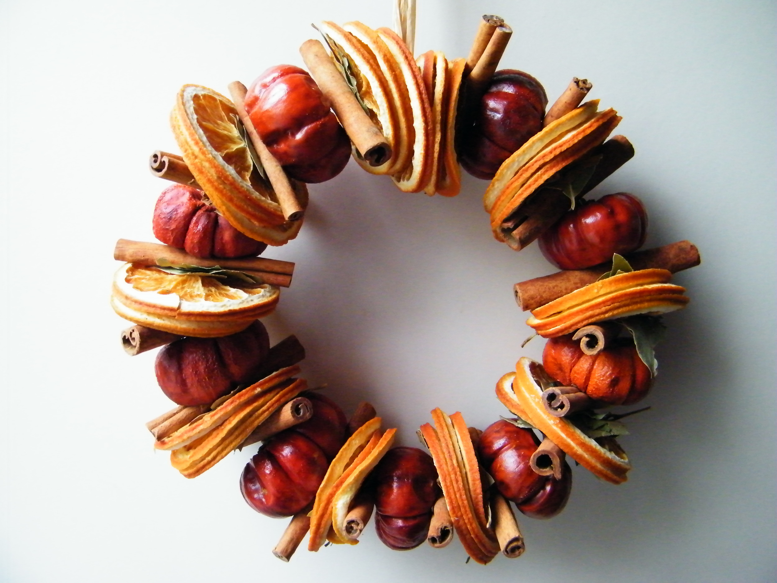 natural dried fruit and spice Christmas wreath