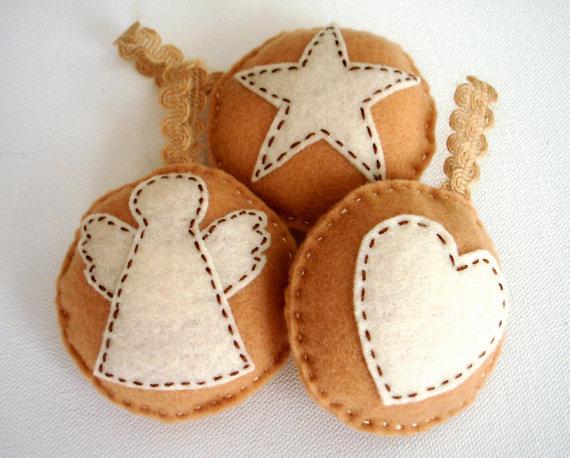 handmade natural felt festive tree ornaments