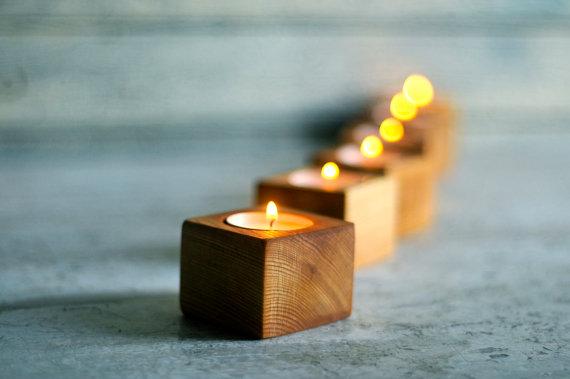 wooden tea light festive candle holders