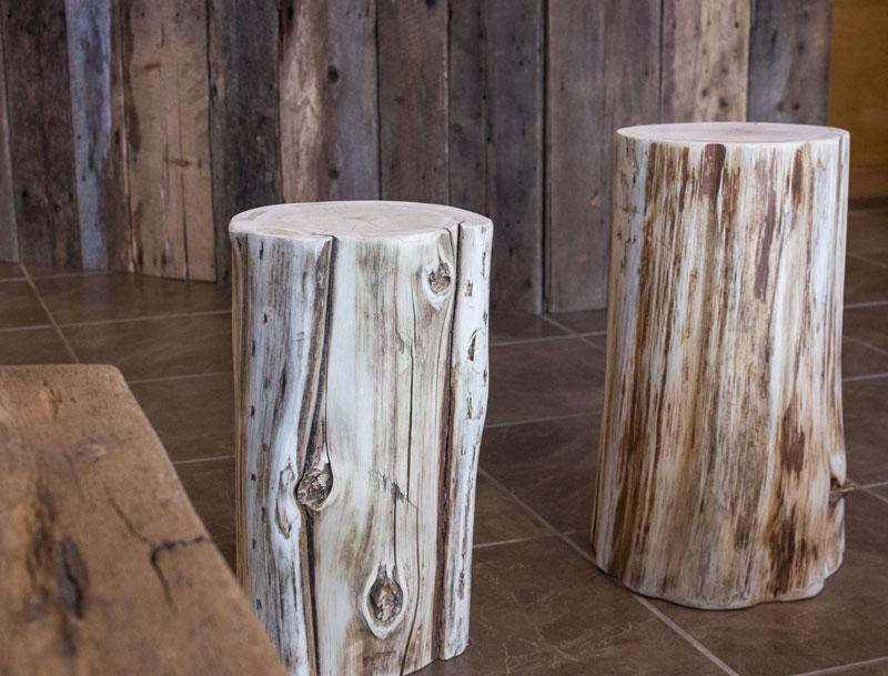 reclaimed cedar stump stools handmade in Canada