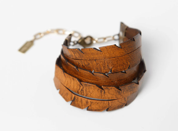 hand cut leather cuffs - sustainable gift guide