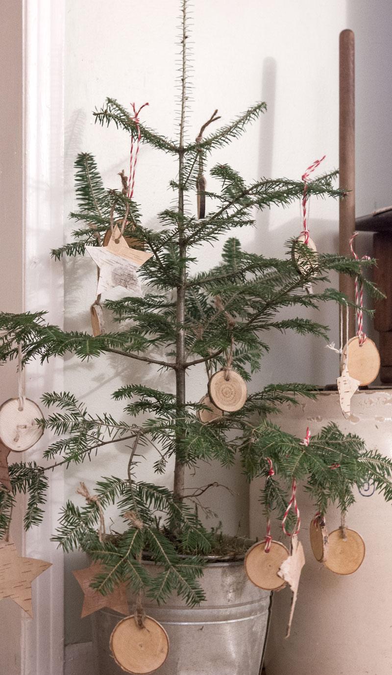 有天然装饰的小圣诞树