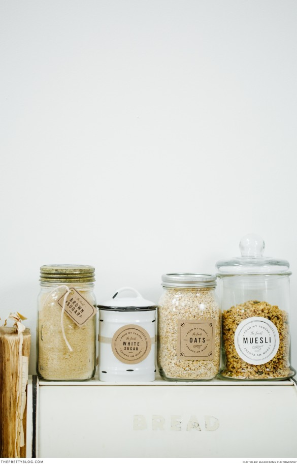 pretty and simple pantry labels