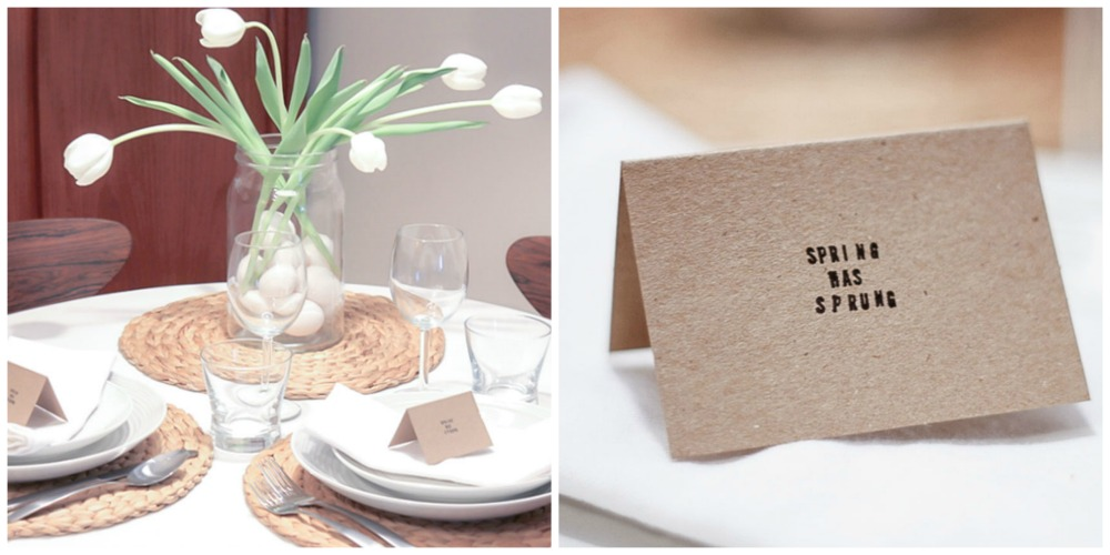 simple white Easter table setting and handmade placecard