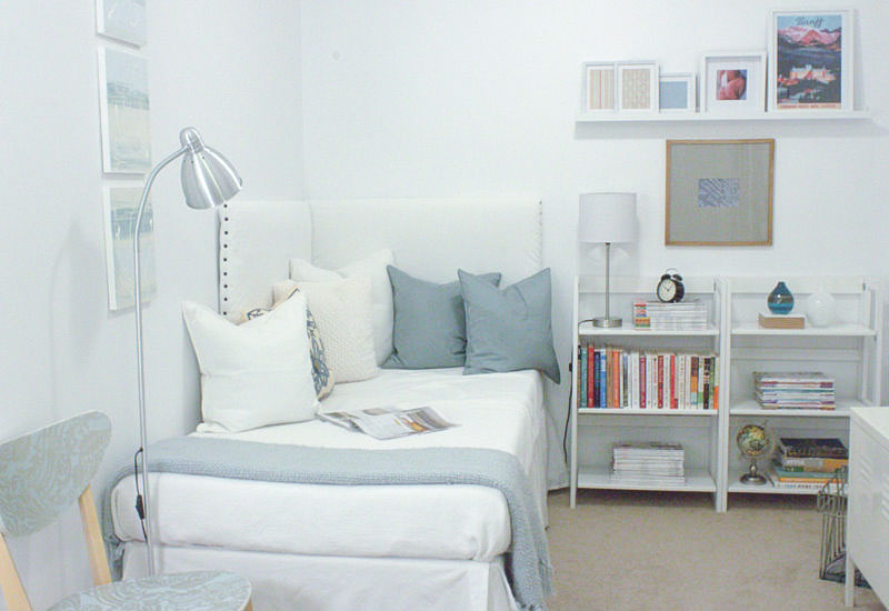 white home office guest room - one room challenge