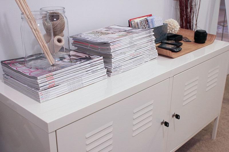 magazine and electronics storage