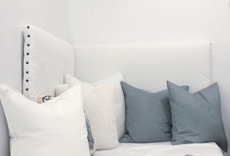 one week challenge - bedroom/home office DIY corner headboard