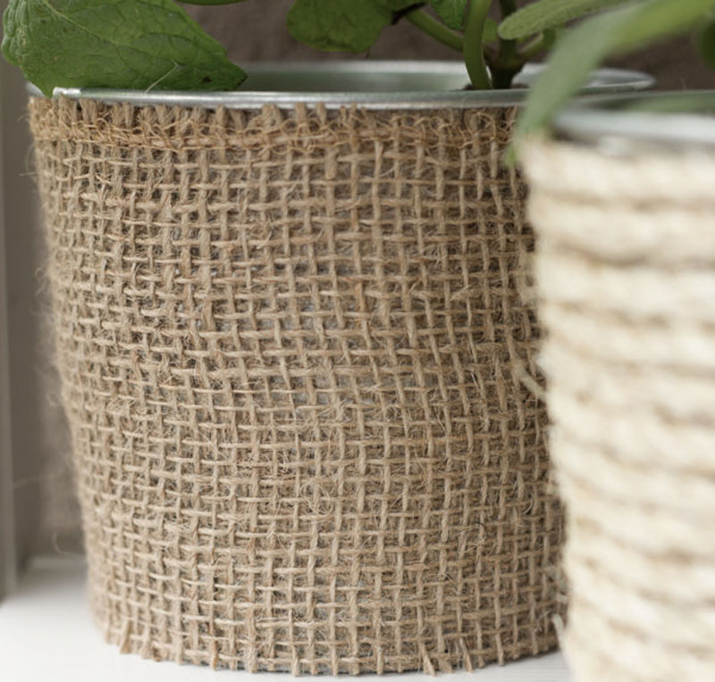 DIY upcycled can planters