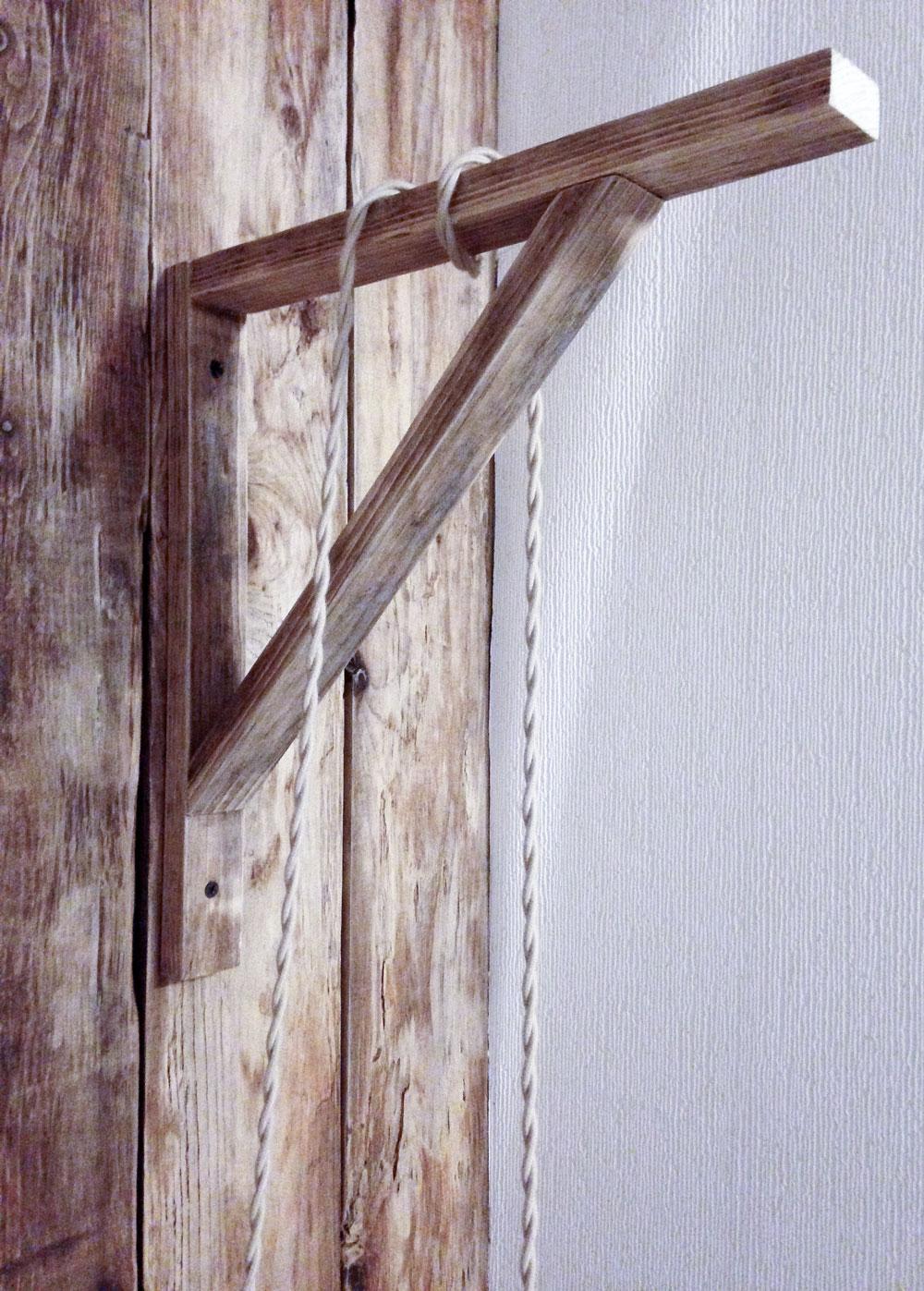 DIY wooden bracket for hanging cage light