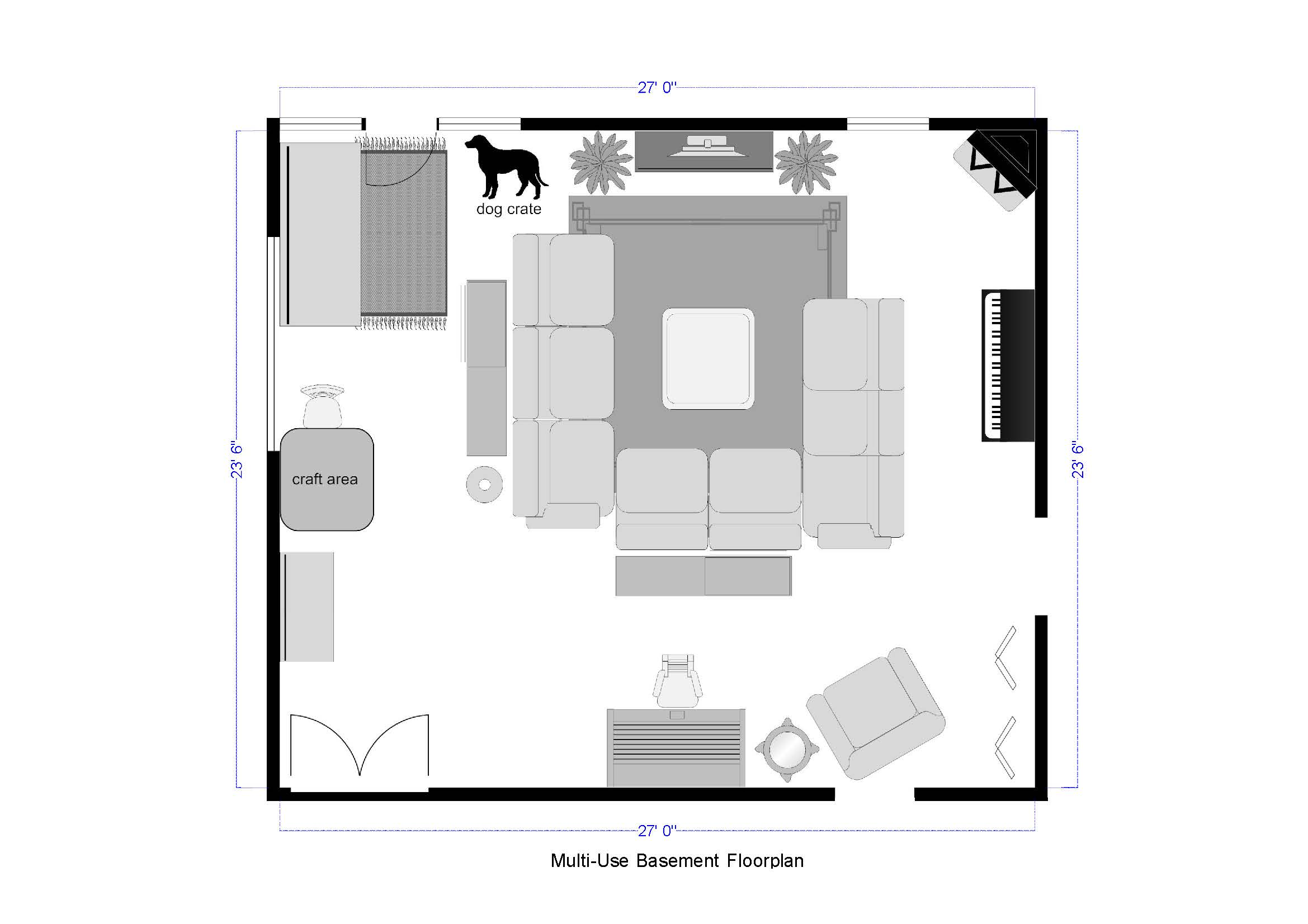 open floor plan basement family room and play room