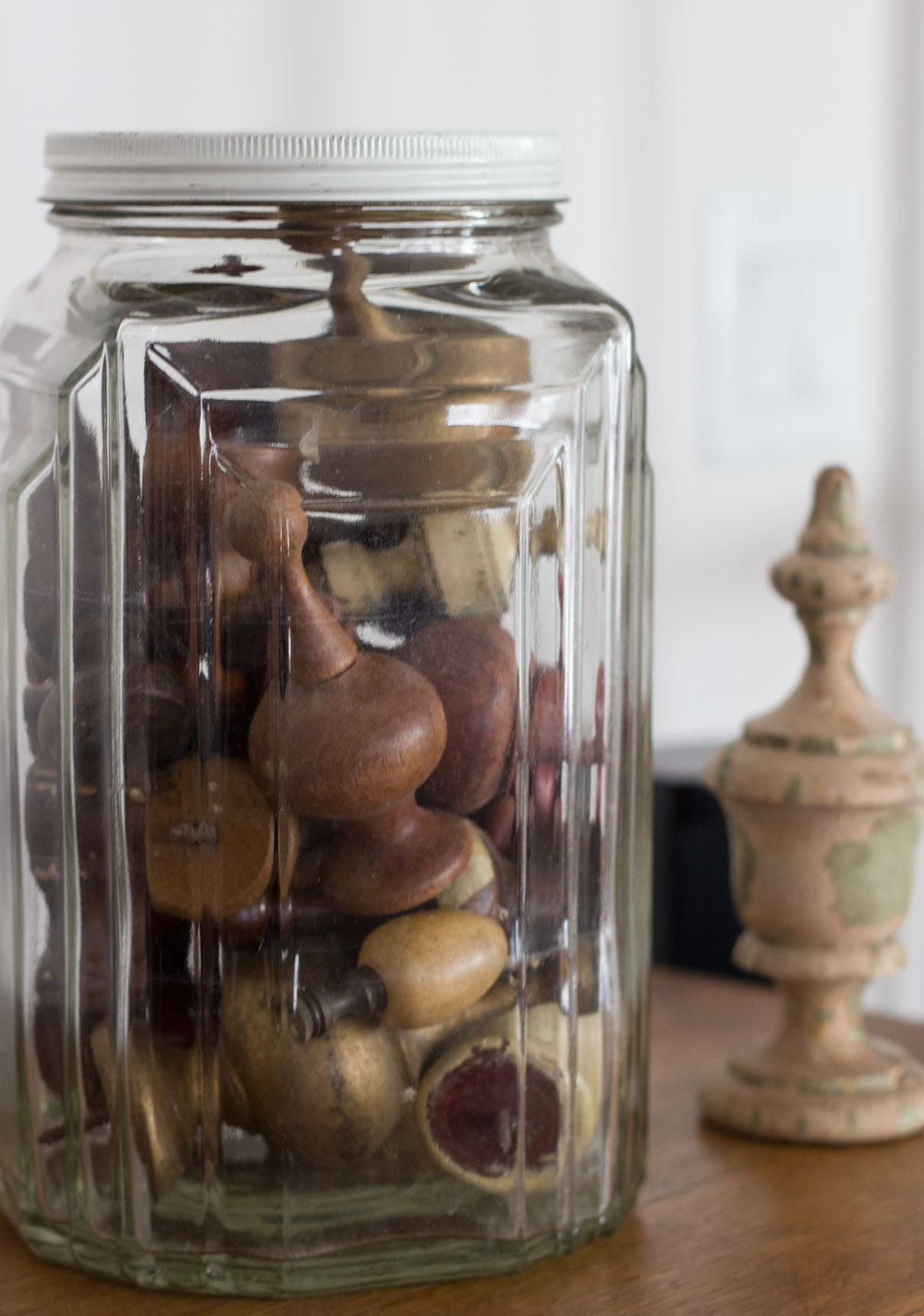 group collections together in glass jars