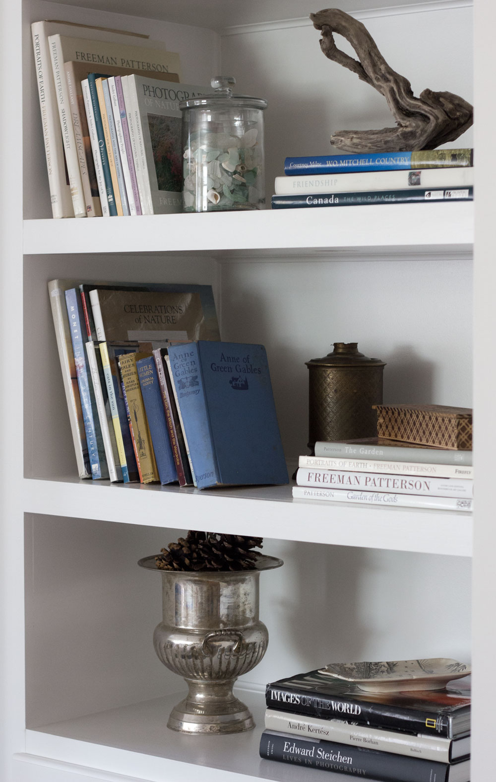 bookshelf styling using natural and vintage collections