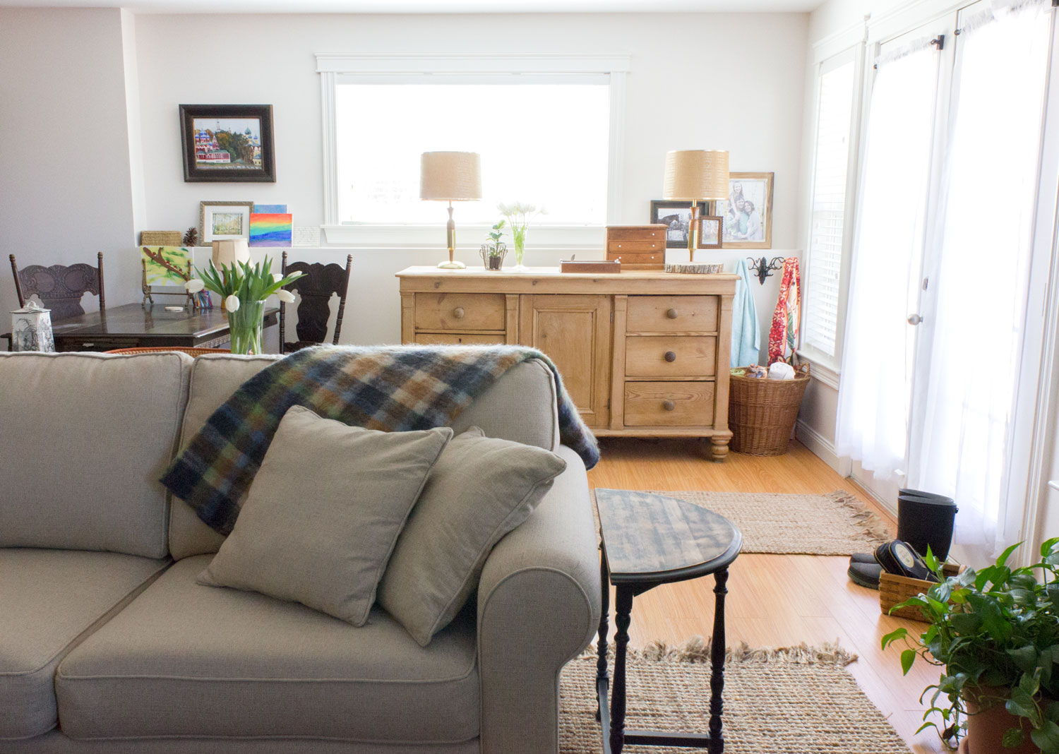 a light, bright, and warm basement family room