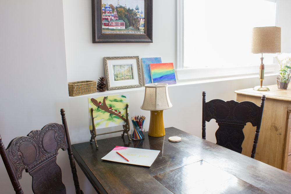 craft table in open plan family room