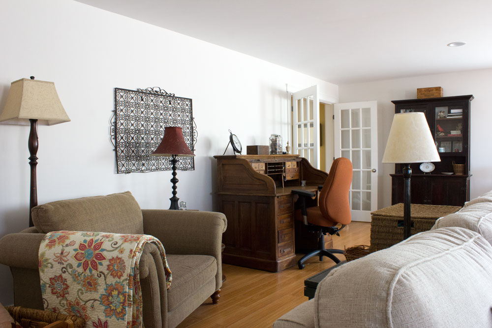 comfy reading and desk zone in large family room