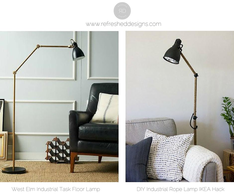 DIY West Elm Inspired Industrial Floor Lamp IKEA hack