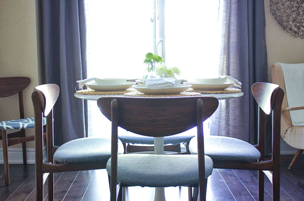 vintage rosewood chairs and tulip table