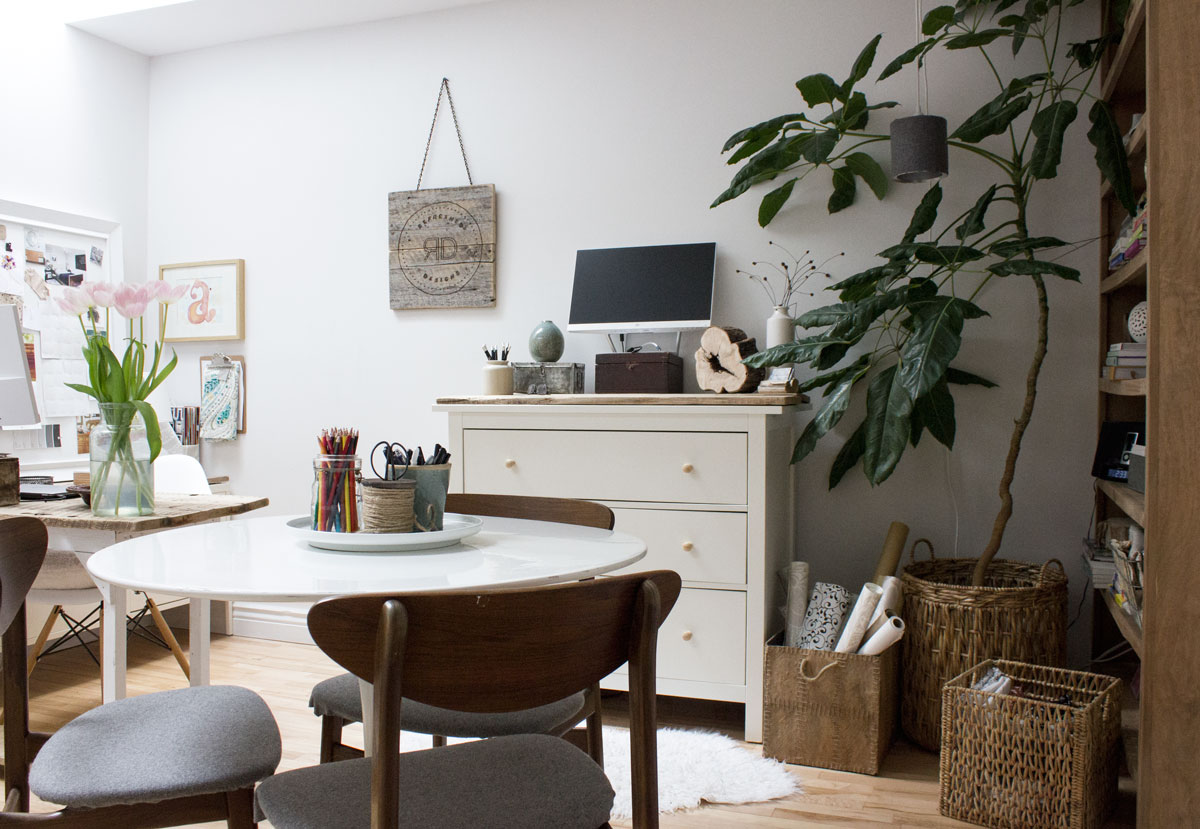 3 workspaces in a small home office-studio