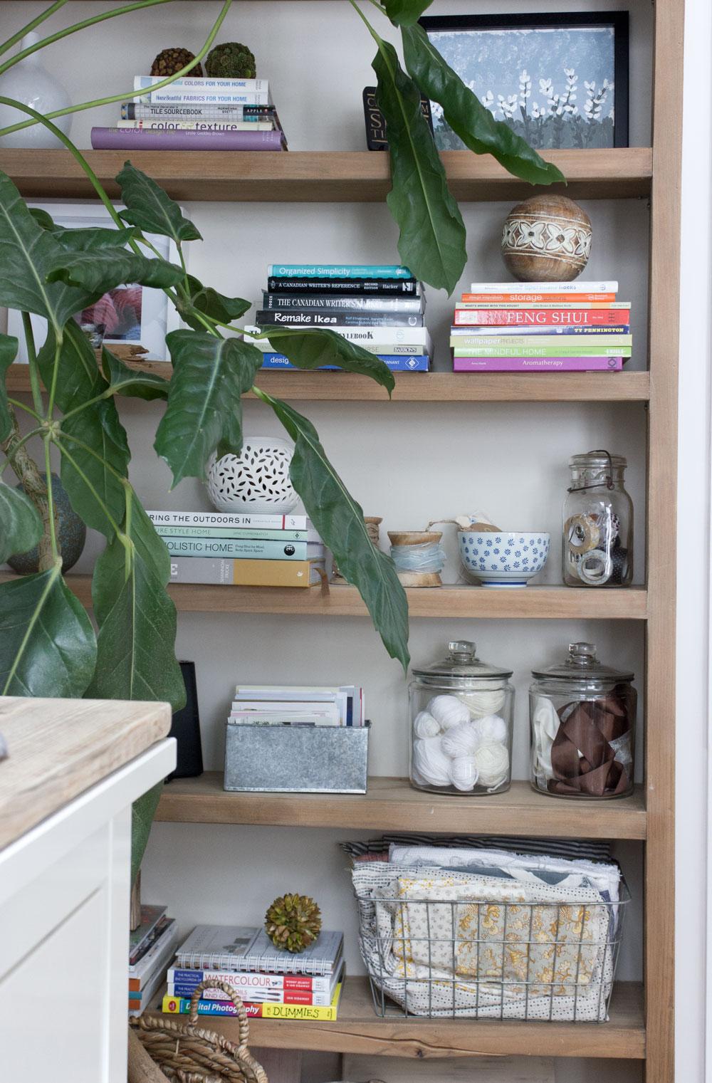 open shelving in office studio