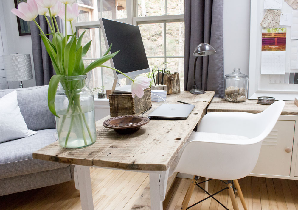 DIY simple table desk from barn boards