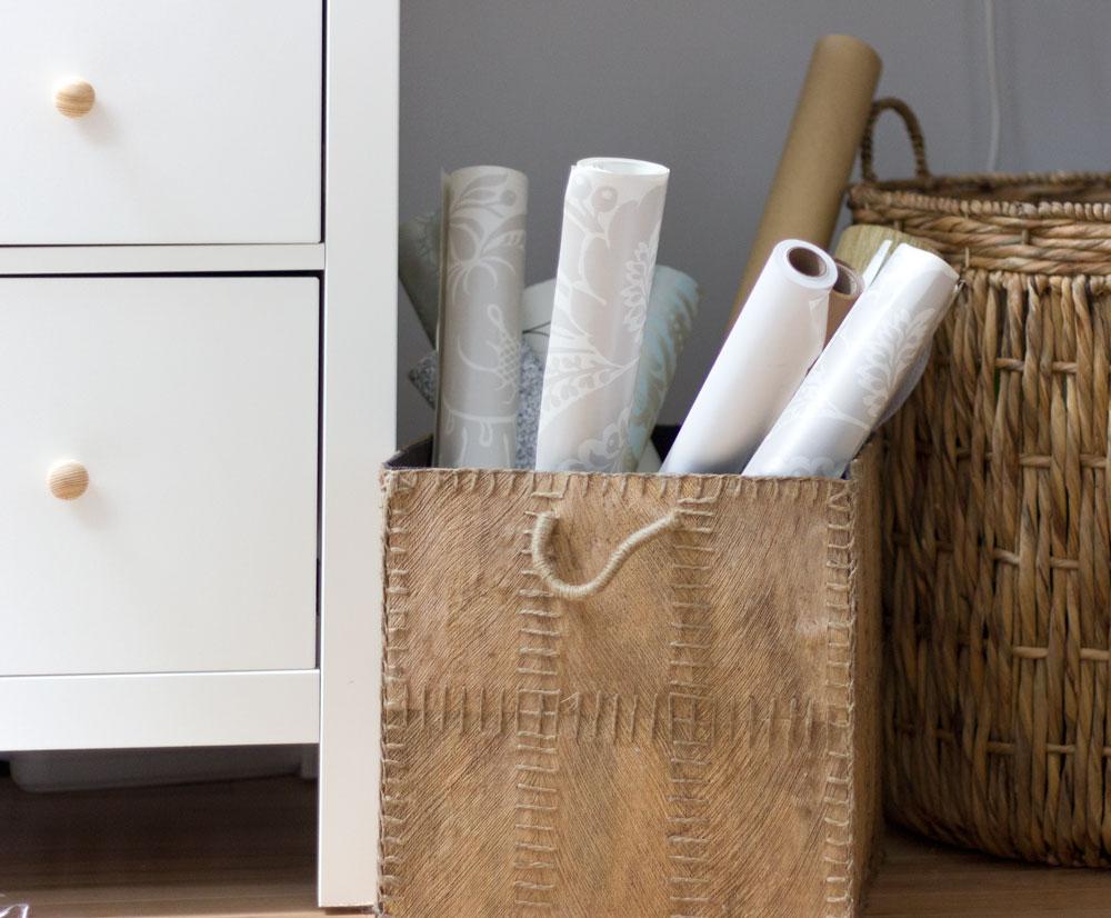 office organization in baskets