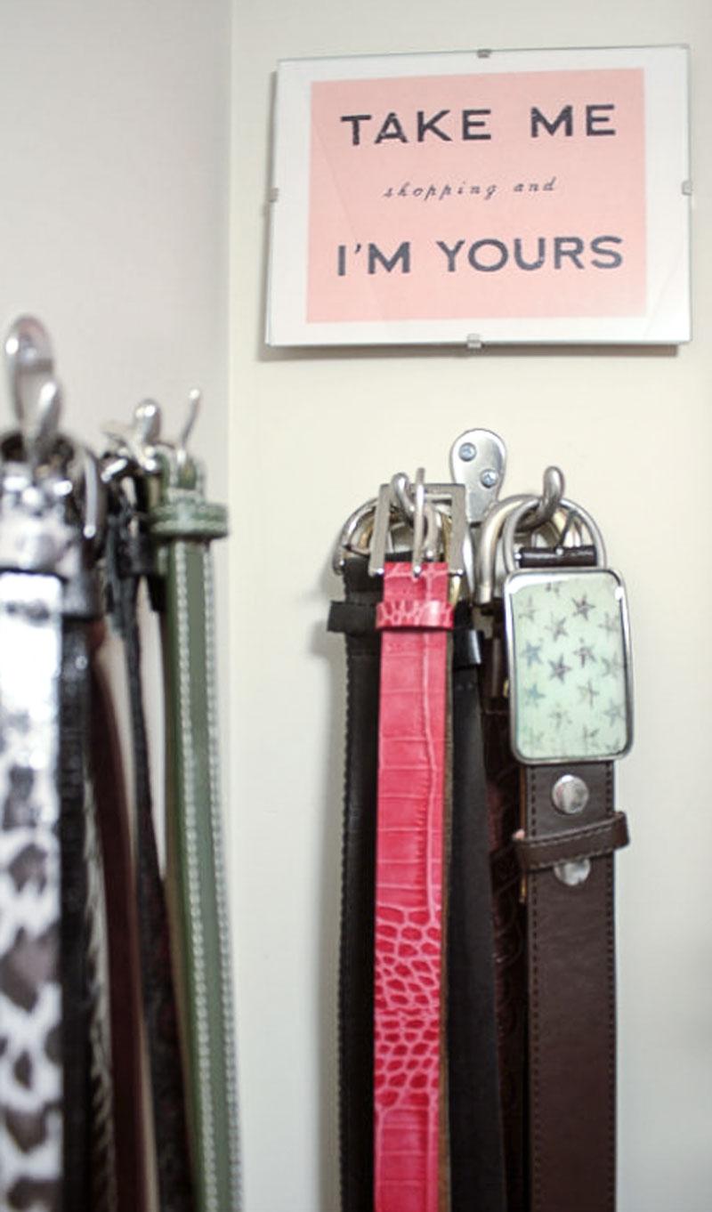 hang belts on hooks for efficient closet organization