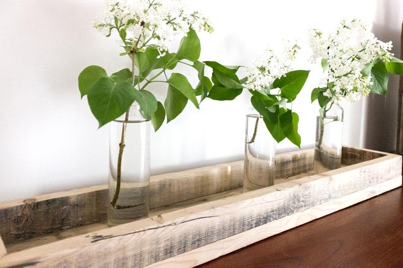 barn board tray and lilacs - click for DIY