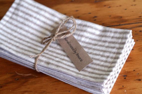 法国滴答棉餐巾-最好的自然夏季家庭装饰在Etsy