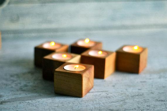 wooden tea lights - best of Etsy for summer home decor