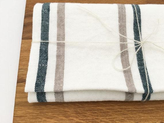 亚麻茶巾-最好的Etsy自然家居装饰