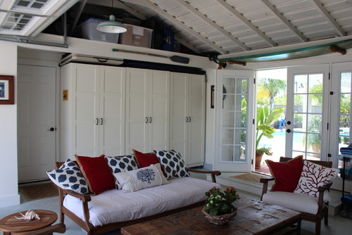 garage turned into extra living and storage space
