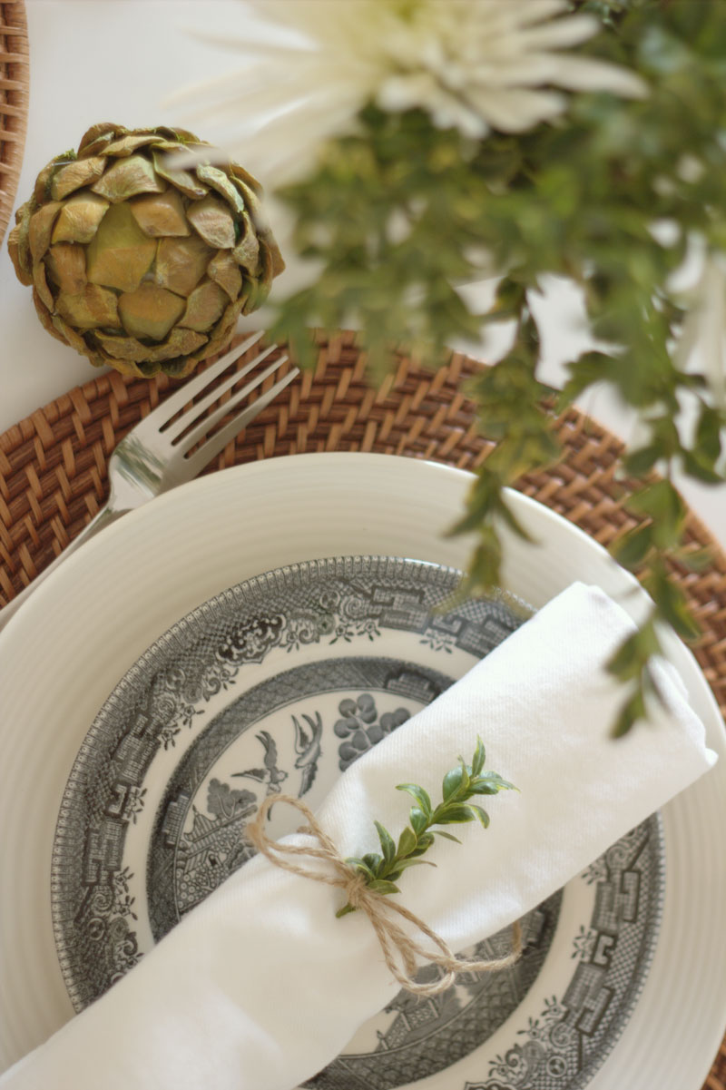 natural holiday table setting