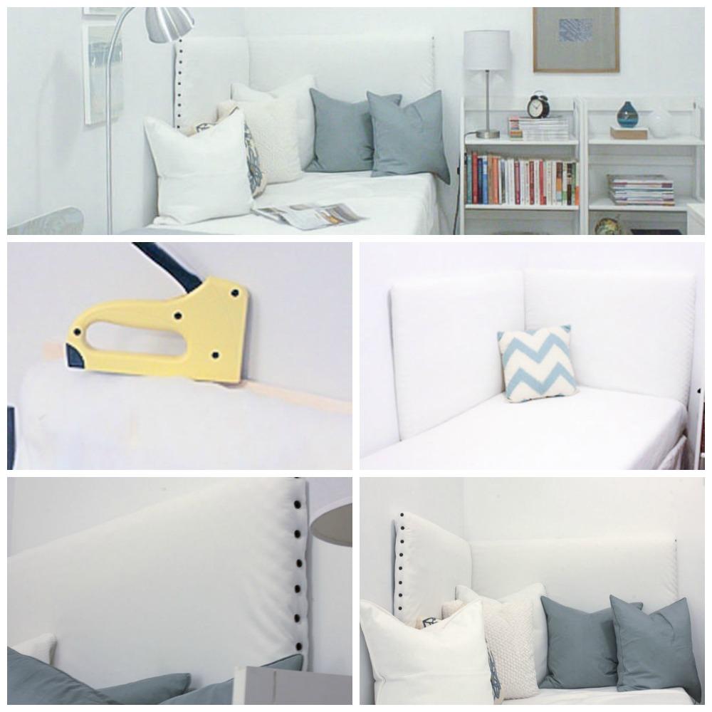 用胶合板和订书钉DIY角床头板
