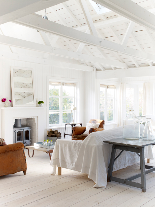 simple white beach cottage