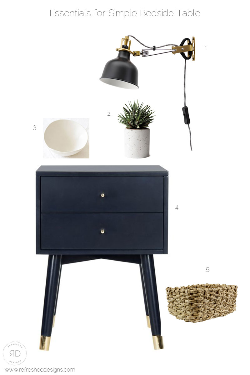 key elements of a simple bedside table