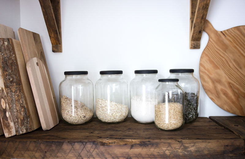 pantry organization and food in glass jars