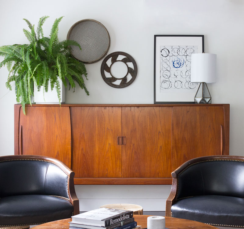Teak credenza in the living room with simple styling