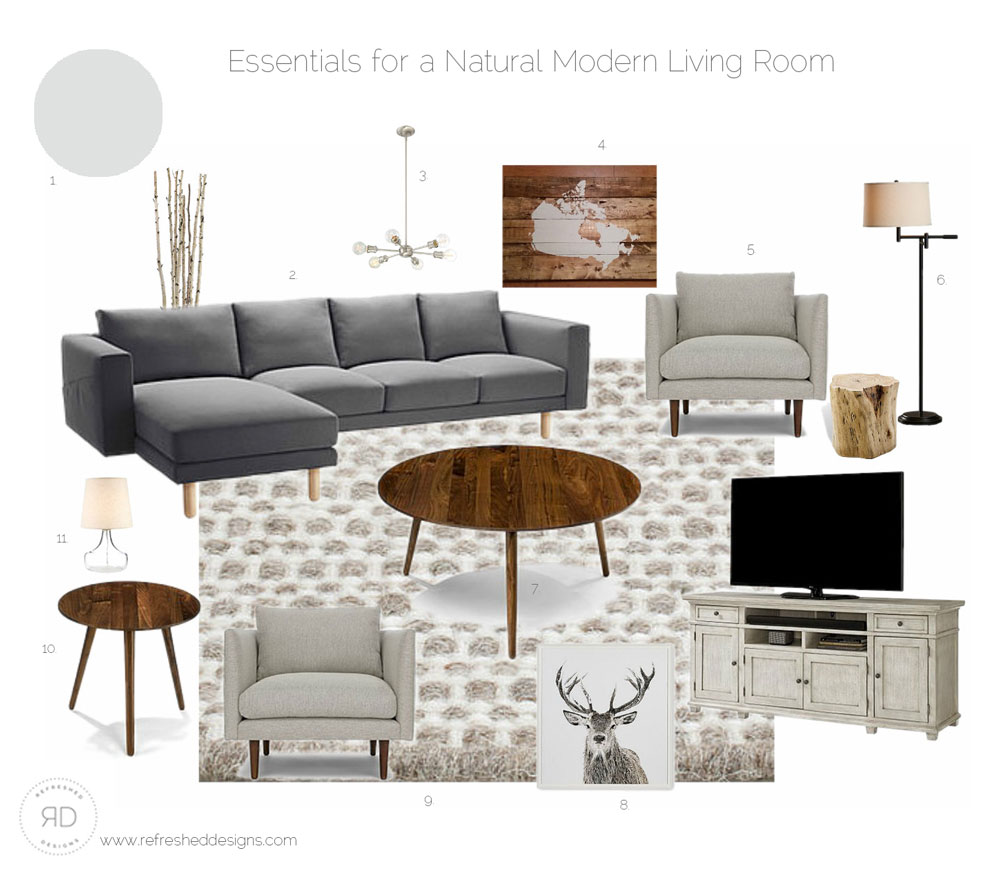 sources for a modern comfortable living room on a budget