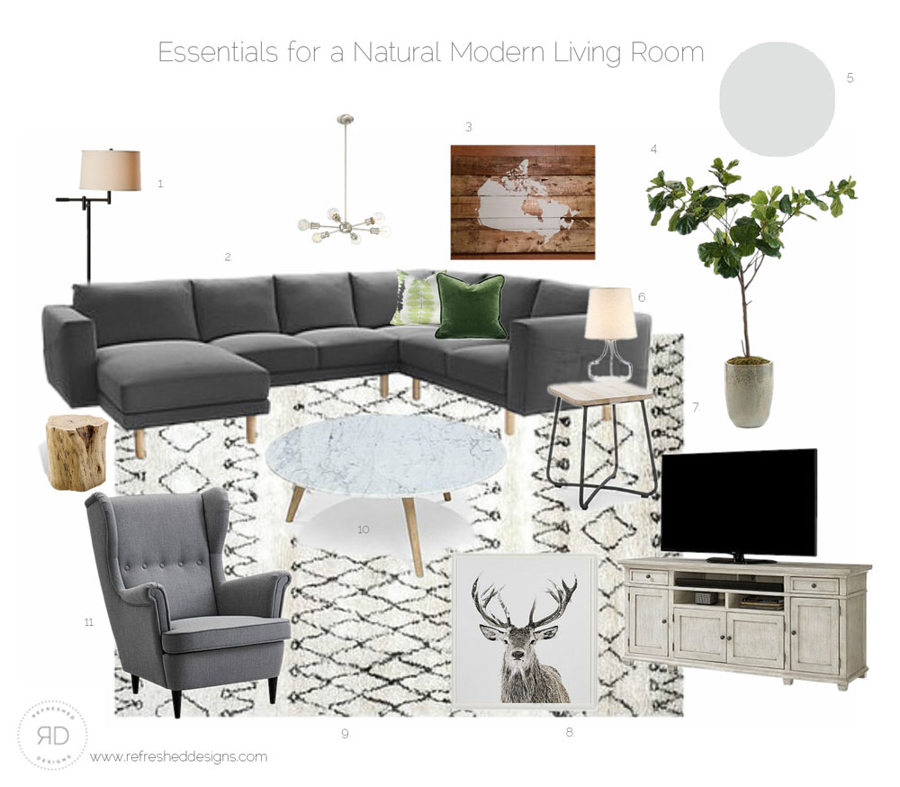 Sources for a natural, modern, comfortable living room on a budget