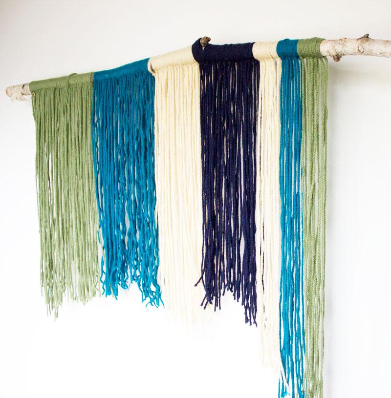 DIY stick and yarn wall hanging - natural art