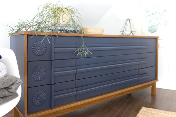 DIY repurposed dresser in Fusion Paint navy blue