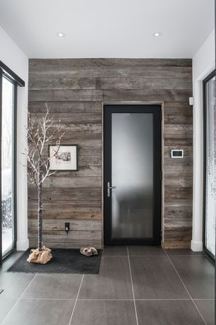 reclaimed barn wood accent wall in entry
