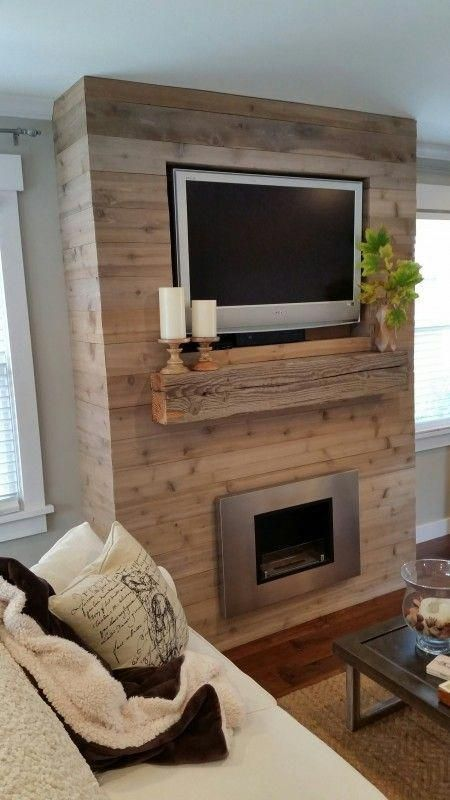 reclaimed barn wood fireplace feature wall